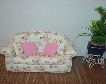 Fashion Doll Sofa Pink, Burgundy, Green Flowers fits 11 1/2 Inch dolls
