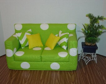 18 Inch Doll Sofa, Green - White - Polka Dots Modern Style Couch Doll House Furniture