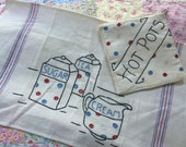 Tea with Sugar n' Cream - Vintage Embroidered Towel and Potholder - Polka Dots !