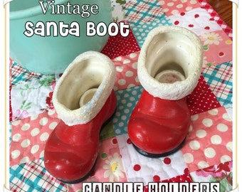 Adorable Vintage 1950s SANTA BOOT Candle Holders