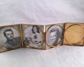 "Vintage 1950's Era Compact Style Fold Out Picture Frames with Monogrammed ""W"""