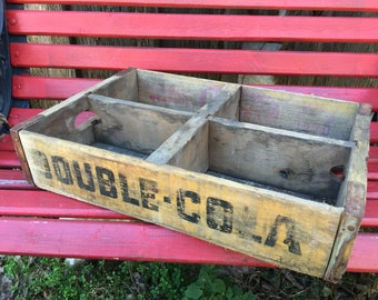 Vintage DOUBLE COLA Wooden Soda Crate Case Tray