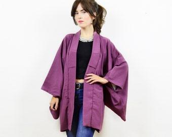 Vintage antique kimono, kimono jacket, purple kimono, short kimono, vintage kimono, Japanese kimono, traditional kimono, boho kimono