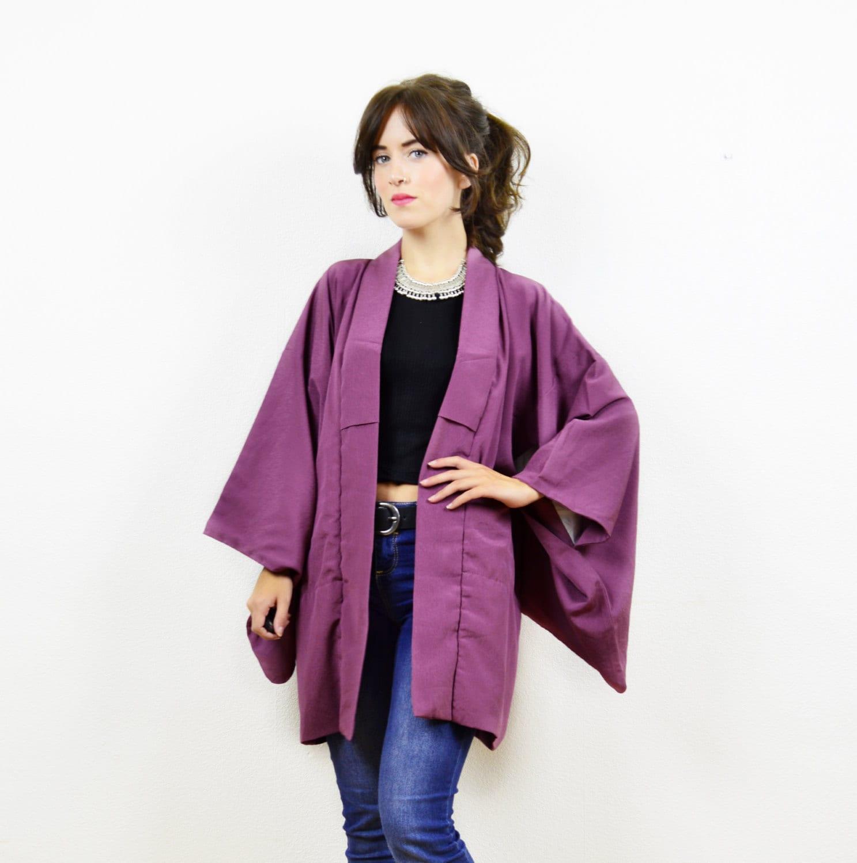 vintage antique kimono kimono jacket purple kimono short. Black Bedroom Furniture Sets. Home Design Ideas