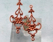 Dainty Floral Connector, Antique Copper, 4 Pc. AC193