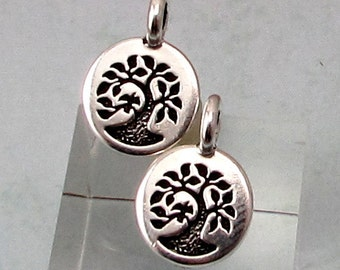TierraCast Small Tree Charm, Antique Silver, 2-Pc. TS126