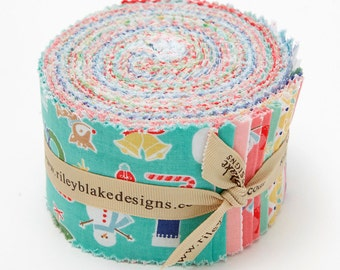 SALE COZY CHRISTMAS Jelly Roll 2.5 inch strips fabric by Riley Blake from Lori Holt