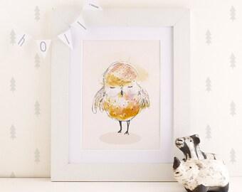 Sleepy little OWL - Poster Print - Nursery art - Nursery decor - Kids room decor - Children's art - Children's wall art - kids wall art