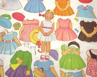 Vintage 1960s Paper Dolls Cute Little Blonde Girl and 51 Outfits