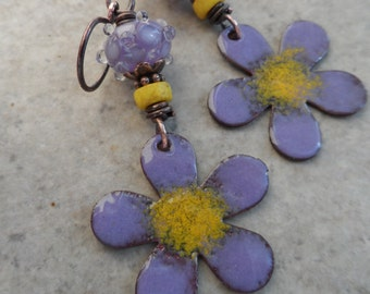 Sweet Violet ... Enameled Copper, Artisan-Made Lampwork and Copper Wire-Wrapped Rustic, Boho, Floral, Woodland Earrings