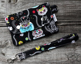 Wallet Wristlet Clutch SMALL Kitty Day of the Dead Made To Order