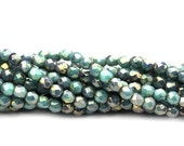 20% Shop Closing Czech Glass Beads Fire Polished Faceted Rounds 2mm Turquoise - Bronze Picasso (50) CZF791