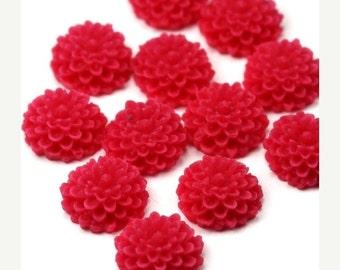 50% off Sale Plastic Flower Cabochons Dahlia 10mm Matte Red Raspberry (6) PC267