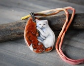 Beautiful cuddly Kittens - Fused glass pendant - cat Jewelry - sleeping kittens necklace