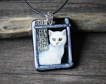 Amazing Cat at the window - Fused glass pendant