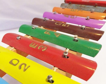 Vintage 1950's Child's Toy Xylophone Colorful Toy Instrument Mid Century Antique Toy