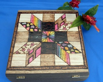 Keepsake Box, Memory Box, Trinket Box - Quilt Square Design - Woodburned, Pyrography