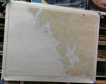 "HUGE SALE Nautical Chart 17321 c.1977, 32""x26"" Map USA, Alaska, Southeast Coast , West Coast of Chichagof Island, Pacific, Sea, Maritime, Ar"