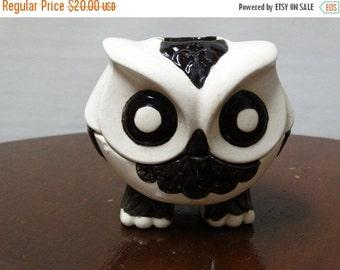 Valentines Day Sale Vintage Black & White Hoot Owl Tea Light, Night Owl, Halloween Owl, Barn Owl, Ceramic Craft Tea Light Candle Holder