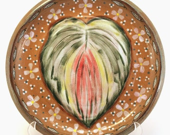 Wheel Thrown Pottery Hosta Leaf Plate Dish Tray OOAK Hand Painted Green Pink