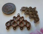 Vintage Cast Snake Brass Clasps, 4/1 Strand Necklace Bracelet Connectors, Earring Finding Copper Tone Finding, 28x20mm, 2 pieces (C43)
