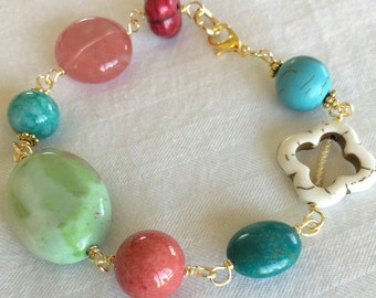 Multi Color Bracelet with Gold Accents - Turquoise - Green - Howlite - White - Red - Coral - Rose - Beads - Clasp - Fashion Jewelry