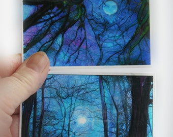 Winter moon and winter sunrise, aceo set of two, originals, tree aceo, nature, landscape, painting, drawing added
