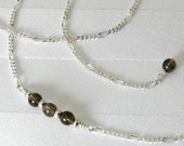 Smoky Quartz and Sterling Silver Chain Adjustable Bar Necklace