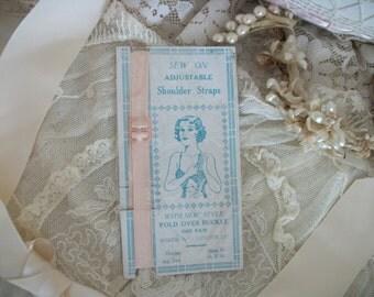 1930s pink vintage NOS pair shoulder lingerie straps, new in package, dress making, lingerie, fashion design, vintage supply fold over style