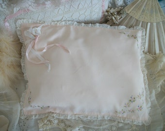 vintage boudoir pillow. hp pink rosebud swags & garlands,  shell-pink, ecru netting lace trim, satin ribbons, silky pillow cover w/ insert