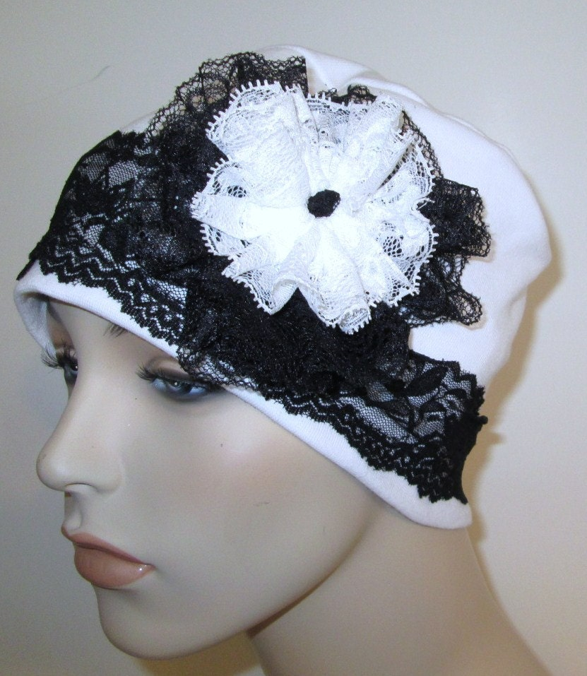 White flapper hat chemo roaring s alopecia hijab