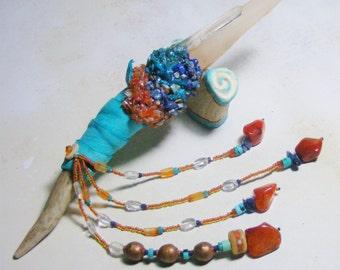 INNER PEACE Magic Crystal Wand with antler Stand, Tibetan Quartz, Chrysocolla, Lapis Lazuli, Carnelian, Turquoise, Tibetan mala bead