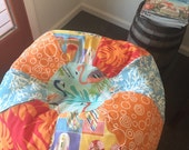 NEW Surfer Girl multi print bean bag with aqua coral, flip flops, tropical red orange flora and dots
