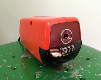 Vintage Panasonic Electric Pencil sharpener Orange Red Desk Top Very Retro MidCentury Modern Fathers Day GiFt christmas gift