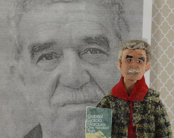 Author Writer Gabriel Garcia Marquez Doll Miniature Gabo Colombian Literature  by Uneek Doll Designs