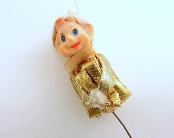 Vintage Christmas Elf Pixie Ornament Gold Lame