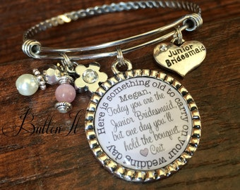 Junior bridesmaid gift, Flower girl bracelet, PERSONALIZED wedding, something OLD, charm bracelet, bangle bracelet, personalized jewelry