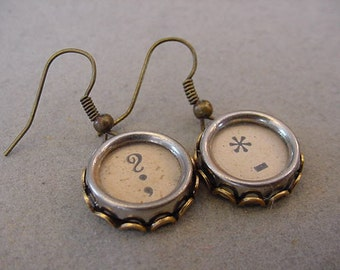 Brass Typewriter Key Earrings QUESTION MARK STAR Dash Aged Tan or Cream Typewriter key Jewelry
