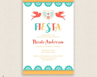 FUN FIESTA - DIY Printable Birthday Party Invitation - Brush Calligraphy - Cactus, Cacti, Calligraphy - Colorful Modern Mexican Theme