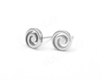 Swirl Stainless Steel Stud Earring Post Finding (E1113)