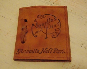 Leather NEEDLE BOOK Pinkeep Yosemite National Park Vintage Sewing Accessory