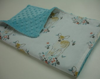 Fawn Baby Burp Cloth with Minky 14 x 19 READY TO SHIP