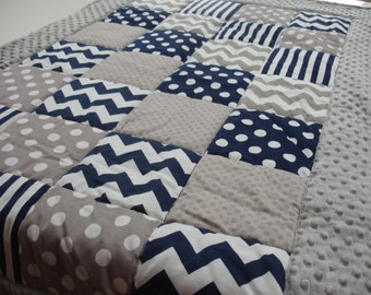 Chevrons Stripes and Dots in Navy and Gray Minky Blanket with Border MADE TO ORDER No Batting