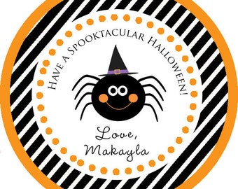Happy Halloween Spooktacular Spider Thank You PERSONALIZED Stickers, Tags, Labels, or Cupcake Toppers, various sizes, printed & shipped