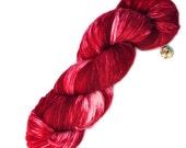 Hand Dyed Sport Weight Yarn 100% Superwash Wool Snowy Red Colorway
