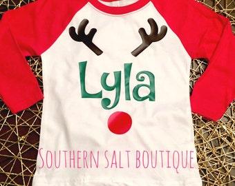Youth Monogram Reindeer Tee - Youth Raglan Monogram Tee - Christmas Tee - Rudolph Shirt