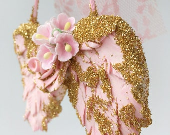 Pink Angel Wings Christmas Ornament with gold glitter. shabby chic glitter lace pink with gold glitter vintage baby loss child loss memorial
