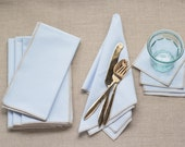 Pale Blue Linen Blend with Tan Edge, set of four-coasters, cocktail napkins, dinner napkins