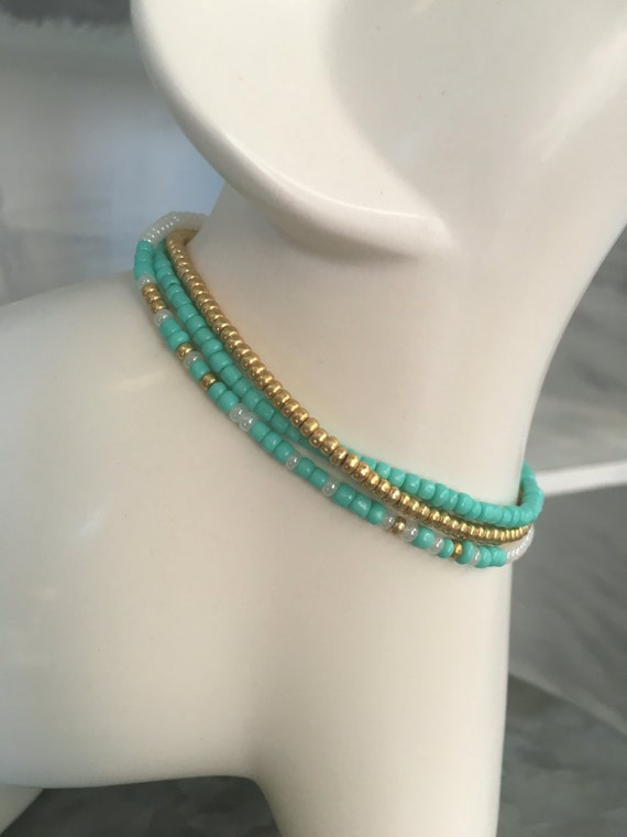 Soul Sister's 2 pack Stretchy Bracelet Set, Includes 2 sets of Morse Code and Matching Accessory Bracelets - Teal/ Gold/ Pearl