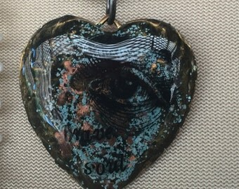 Brave soul (EYE) heart shaped metal layered pendant necklace
